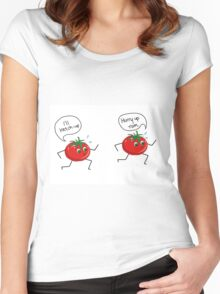 tomatoes running to ketchup  Women's Fitted Scoop T-Shirt