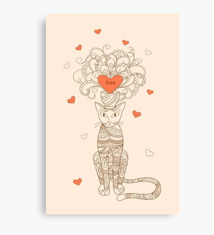 zen elegance cat with love Canvas Print