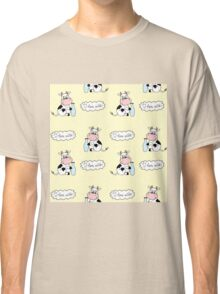 Cute cartoon cow with milk Classic T-Shirt