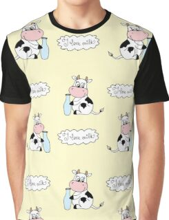 Cute cartoon cow with milk Graphic T-Shirt