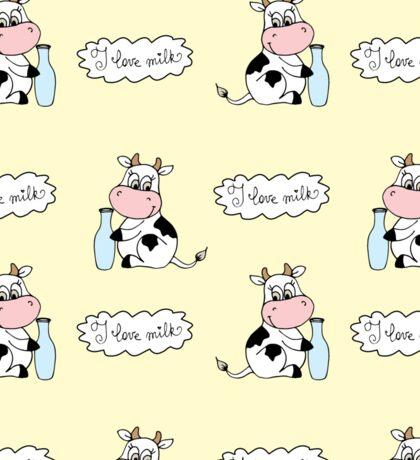 Cute cartoon cow with milk Sticker