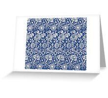 Indigo and White William Morris Pattern Greeting Card