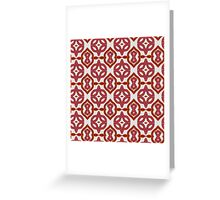 Red Roses and Yarn Decorative Grid Greeting Card