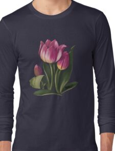 Tulips and shadows - acrylic painting Long Sleeve T-Shirt