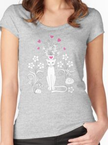 elegance cat with flowers and heart Women's Fitted Scoop T-Shirt