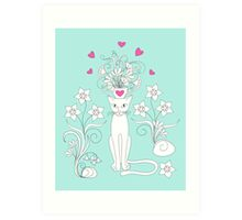 elegance cat with flowers and heart Art Print