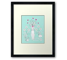 elegance cat with flowers and heart Framed Print
