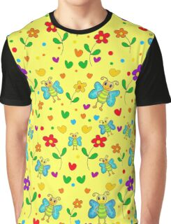Cute butterflies and flowers pattern - yellow Graphic T-Shirt