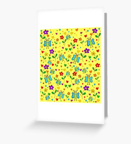 Cute butterflies and flowers pattern - yellow Greeting Card