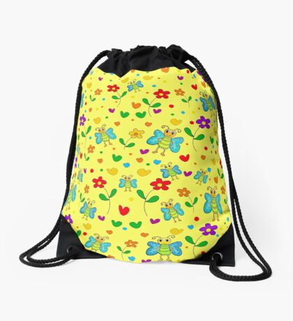Cute butterflies and flowers pattern - yellow Drawstring Bag