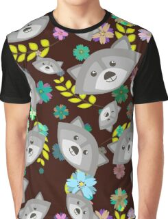 Raccoon and Flowers Graphic T-Shirt