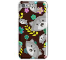 Raccoon and Flowers iPhone Case/Skin