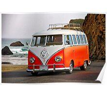 VW Surfer Bus 'Against the Tide' Poster
