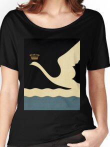 Minimalist Swan Queen flying crowned swan Women's Relaxed Fit T-Shirt