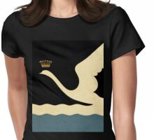Minimalist Swan Queen flying crowned swan Womens Fitted T-Shirt