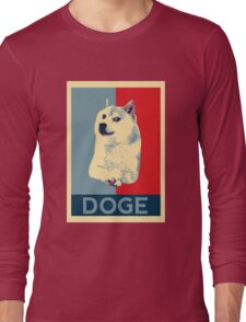 DOGE - doge shepard fairey poster with dog red / blue Long Sleeve T-Shirt