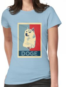 DOGE - doge shepard fairey poster with dog red / blue Womens Fitted T-Shirt