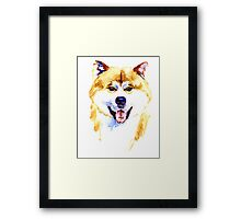 Watercolor Akita inu dog on white background Framed Print