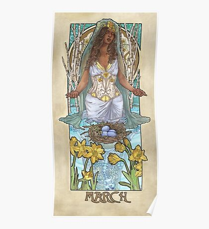 Lady of March with Daffodils and Birch Trees Easter Resurrection Maiden Mucha Inspired Birthstone Series Poster