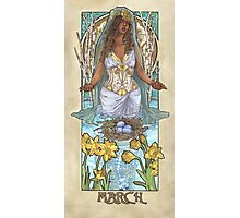 Lady of March with Daffodils and Birch Trees Easter Resurrection Maiden Mucha Inspired Birthstone Series Photographic Print