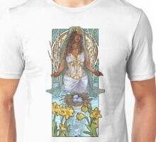 Lady of March with Daffodils and Birch Trees Easter Resurrection Maiden Mucha Inspired Birthstone Series Unisex T-Shirt