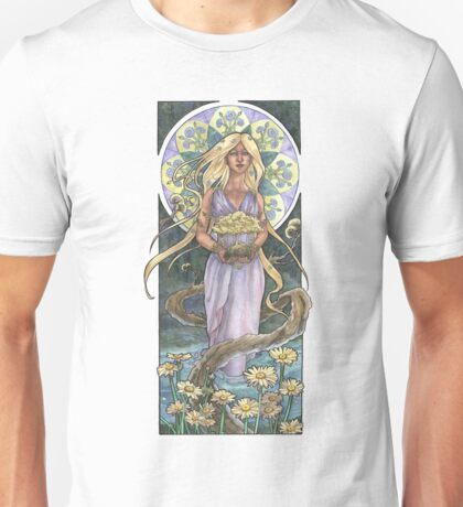 Lady of April with Bonsai and Daisies Mucha Inspired Birthstone Series Unisex T-Shirt