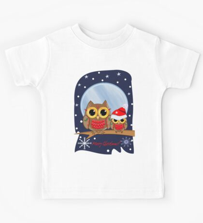 Christmas Owls in a snowy full moon night & text Kids Tee