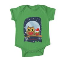 Christmas Owls in a snowy full moon night & text One Piece - Short Sleeve