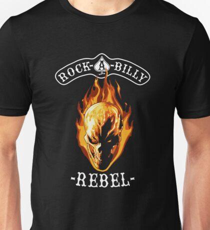 Rockabilly Rebel Flaming Skull Unisex T-Shirt