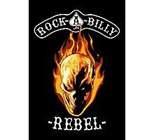 Rockabilly Rebel Flaming Skull Photographic Print