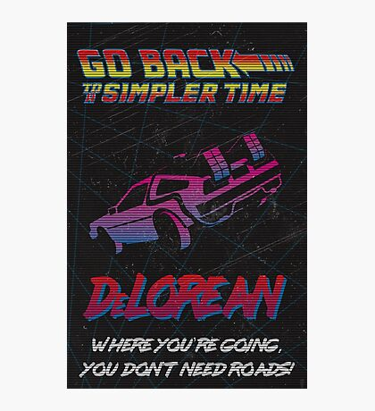 Retro Back to the Future Travel Poster Photographic Print