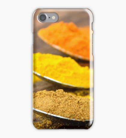 Warm Orange and Yellow Indian Cooking Spices on Silver Spoons iPhone Case/Skin