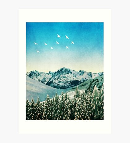 Snowy Mountain Scene - Version 2. Art Print