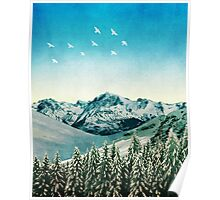 Snowy Mountain Scene - Version 2. Poster