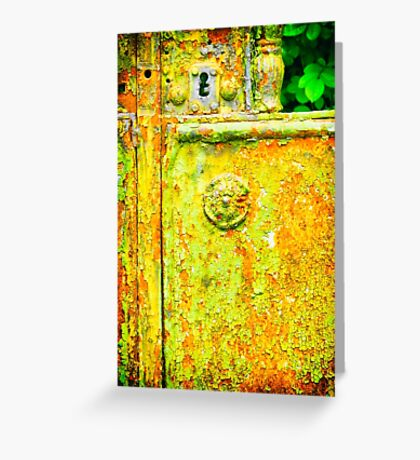 The rusty and peeling gate Greeting Card