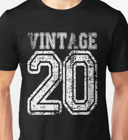 Vintage 20 2020 1920 T-shirt Birthday Gift Age Year Old Boy Girl Cute Funny Man Woman Jersey Style Unisex T-Shirt
