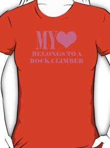 My Heart Belongs To A Rock Climber T-Shirt
