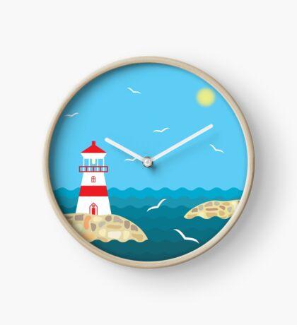 Lighthouse on the stony shore Clock