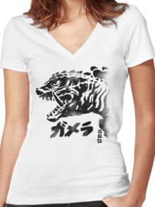 Waterbrushed Monster Turtle Women's Fitted V-Neck T-Shirt