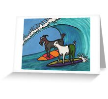 Surfing Goats Greeting Card
