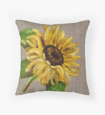 Sun Flower Oil Painting by Angela Brown Art Throw Pillow