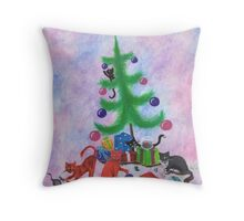 A Kitty Christmas Throw Pillow