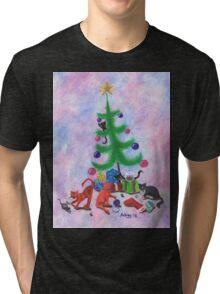 A Kitty Christmas Tri-blend T-Shirt