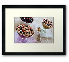 Closeup of two yogurt dessert with berries and almonds Framed Print