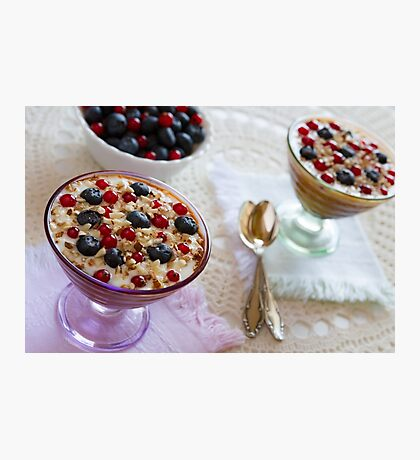 Closeup of two yogurt dessert with berries and almonds Photographic Print