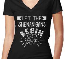 Let The Shenanigans Begin Women's Fitted V-Neck T-Shirt