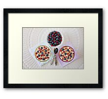 Two yogurt dessert with berries and almonds Framed Print