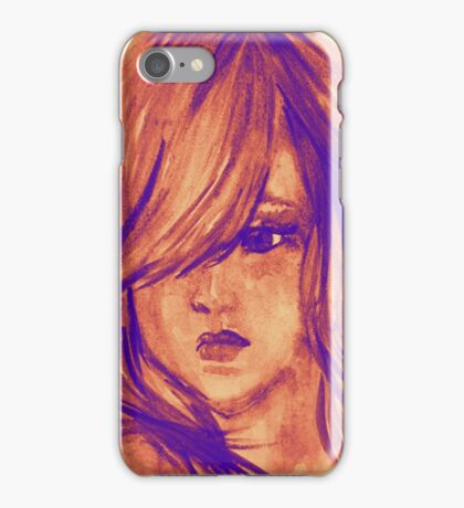Colors of Imagination in her hair. Hand painted watercolor illustration iPhone Case/Skin
