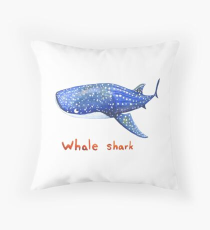 Whale Shark Watercolor Throw Pillow