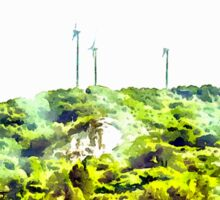 Landscape from train window country with wind turbines Sticker
